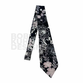 Black and White Floral Necktie