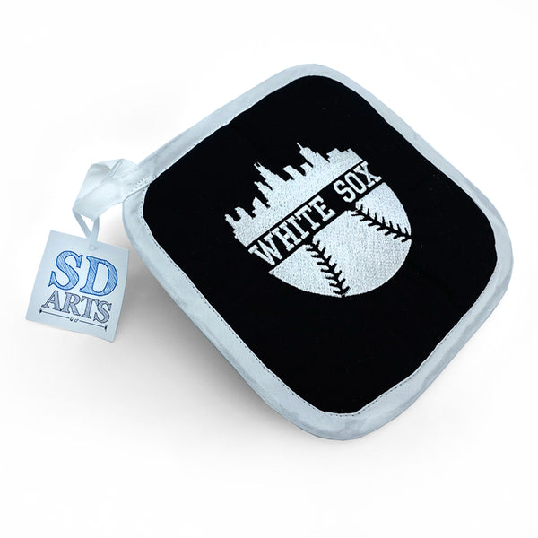 Hot Pad - White Sox - Black Fabric, One side embroidered