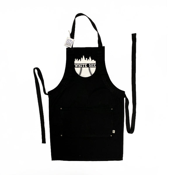 Apron - White Sox - Black Eco-conscious Apron with Embroidered Bib
