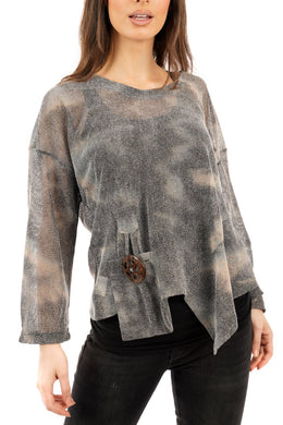 Florence Mesh Tunic Grey Tie Dye - DressMyMood.co.uk