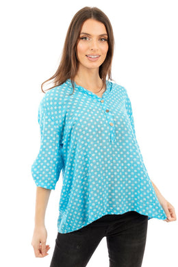 Santorini Shirt - Turquoise / White - DressMyMood.co.uk