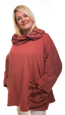 Hooded Jumper with Animal Print Detail - Maroon - DressMyMood.co.uk