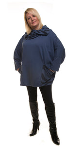 Hooded Jumper with Animal Print Detail - Navy Blue - DressMyMood.co.uk