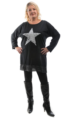 Women's Classic Star Top - Black - DressMyMood.co.uk