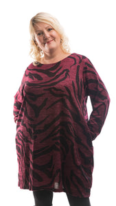 Women's Camouflage Tunic Top - Burgundy - DressMyMood.co.uk