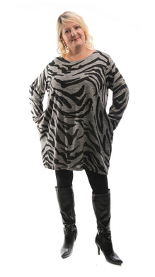 Women's Camouflage Tunic Top - Grey - DressMyMood.co.uk