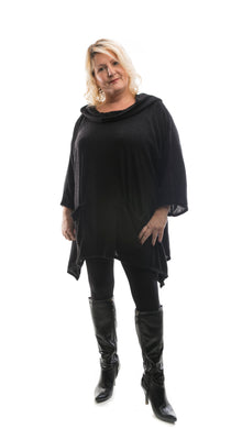 Soft Hood Tunic Jumper - Black - DressMyMood.co.uk