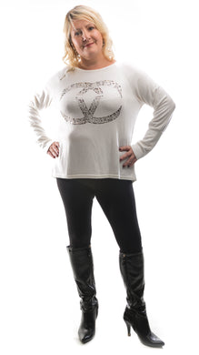 Women's soft motif Jumper- White - DressMyMood.co.uk