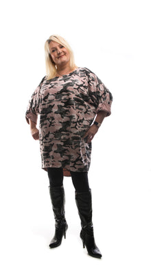 Camouflage Style Tunic Top- Pink - DressMyMood.co.uk
