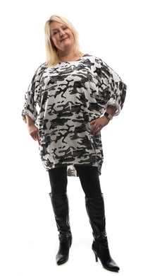 Camouflage Style Tunic Top- White - DressMyMood.co.uk