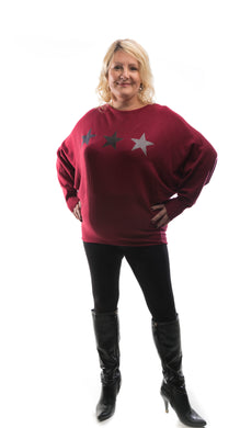 Star Jumper - Maroon - DressMyMood.co.uk