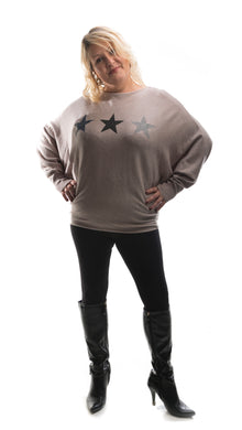 Star Jumper -  Beige - DressMyMood.co.uk
