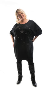 Women's Star Detail Tunic Dress - Black - DressMyMood.co.uk