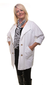 Stylish Womens Jacket - White - DressMyMood.co.uk