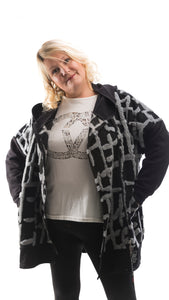 Women's Black and Grey Coat - DressMyMood.co.uk