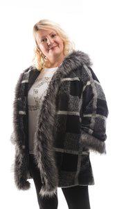 Women's Black and Grey Fur Lined Coat - DressMyMood.co.uk