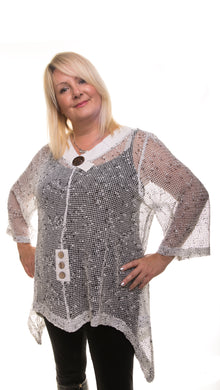 Mesh Tunic Top - White - DressMyMood.co.uk