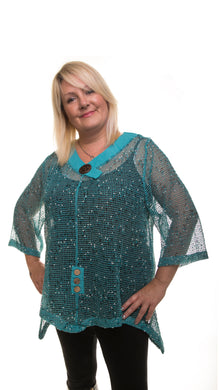 Mesh Tunic Top - Aqua - DressMyMood.co.uk