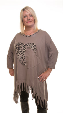 Heart Style Tunic Long Top - Grey - DressMyMood.co.uk