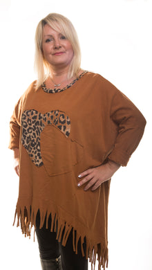 Heart Style Tunic Long Top - Rust - DressMyMood.co.uk