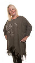 Load image into Gallery viewer, Heart Style Tunic Long Top - Olive - DressMyMood.co.uk