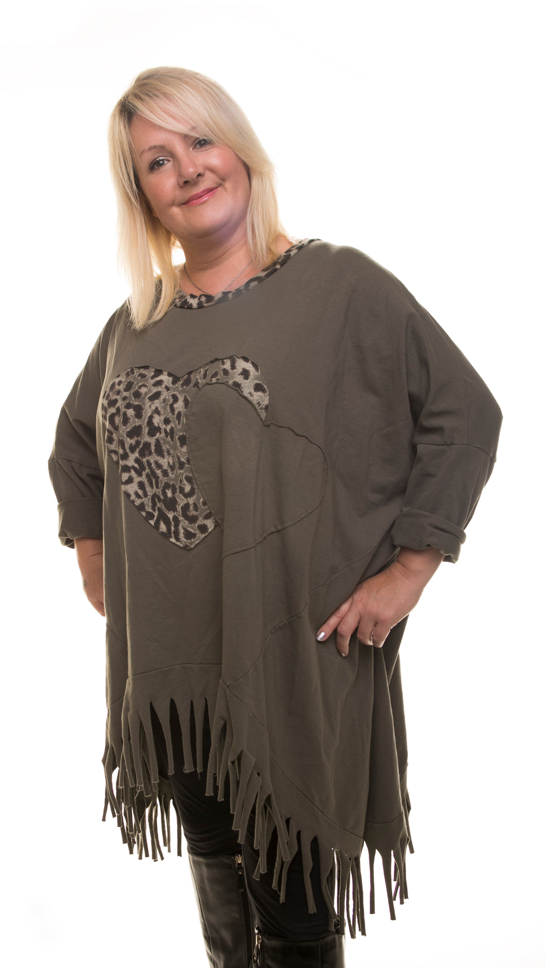 Heart Style Tunic Long Top - Olive - DressMyMood.co.uk