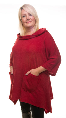Long Hooded Tunic Jumper - Maroon - DressMyMood.co.uk
