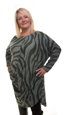 Animal Print Long Tunic- Sage/Grey - DressMyMood.co.uk