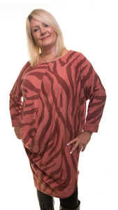 Animal Print Long Tunic- Rosewood/Blush - DressMyMood.co.uk