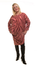 Load image into Gallery viewer, Animal Print Long Tunic- Rosewood/Blush - DressMyMood.co.uk
