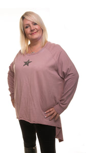 Star Design Tunic Jumper - Pink - DressMyMood.co.uk
