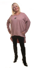 Load image into Gallery viewer, Star Design Tunic Jumper - Pink - DressMyMood.co.uk