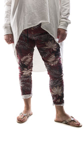 Funky Zebra Magic Pants - Maroon - DressMyMood.co.uk
