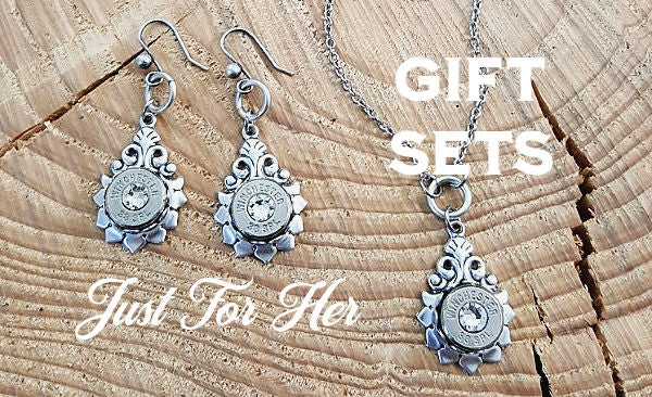Bullet Necklace and Earrings Gift Sets for Her from SureShot Jewelry