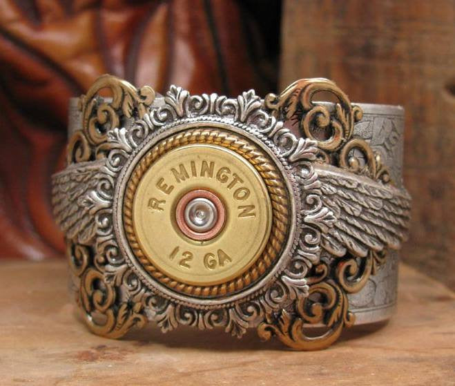 12 Gauge Shotgun Casing Winged Mixed Metal Silver Cuff Bracelet