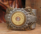 12 Gauge Winged Mixed Metal Silver Cuff Bracelet-SureShot Jewelry