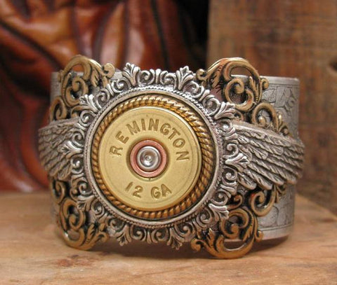 12 Gauge Winged Mixed Metal Silver Cuff Bracelet