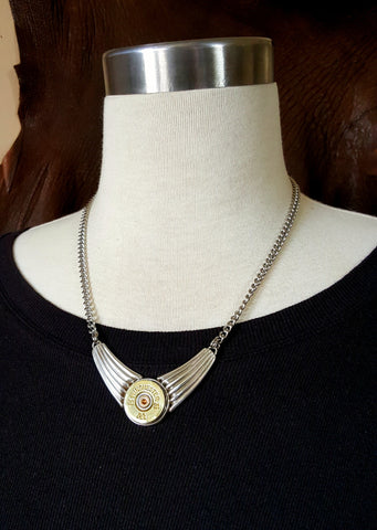 20 Gauge Shotshell Modern Sterling Silver Festoon Bullet Necklace