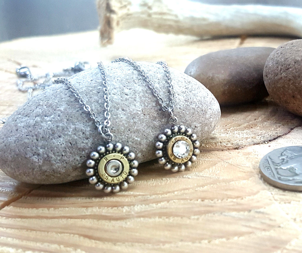 Petite Round Beaded Bezel Bullet Necklace - 25 Auto