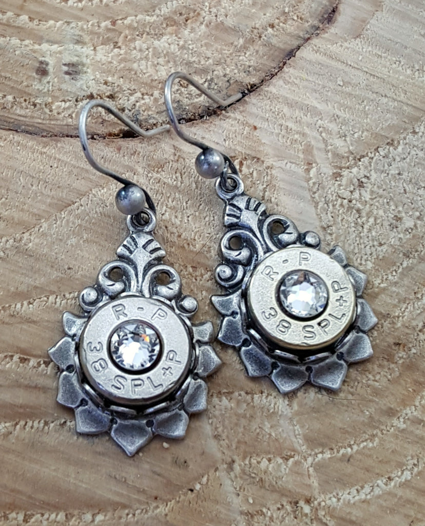 Vintage Look Silver Bullet Earrings