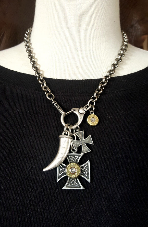 Double Maltese Cross, Horn/Tusk Bullet Necklace-SureShot Jewelry