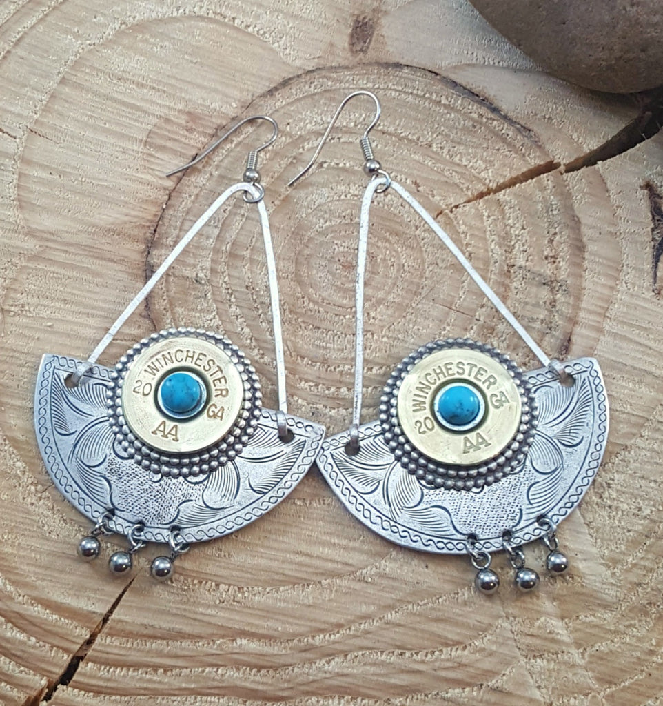 Crescent 20 Gauge Southwest Boho Style Bullet Earrings