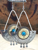 Crescent 20 Gauge Southwest Boho Style Bullet Earrings-SureShot Jewelry