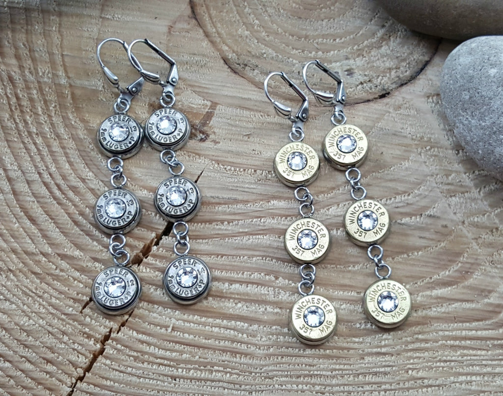 Triple Bullet Earrings - Bullet Jewelry - SureShot Bullet Designs