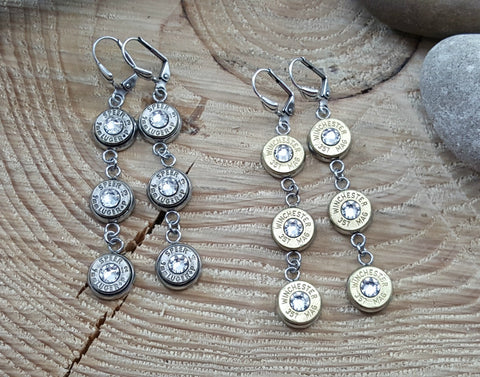 Triple Bullet Earrings - CHOICE of Brass or Nickel Casings