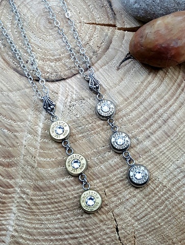 Triple Bullet Necklace - CHOICE of Brass or Nickel Casings