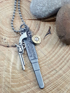 Men's Vintage Remington Cutlery Pocket Knife Key Fob Bullet Necklace-SureShot Jewelry