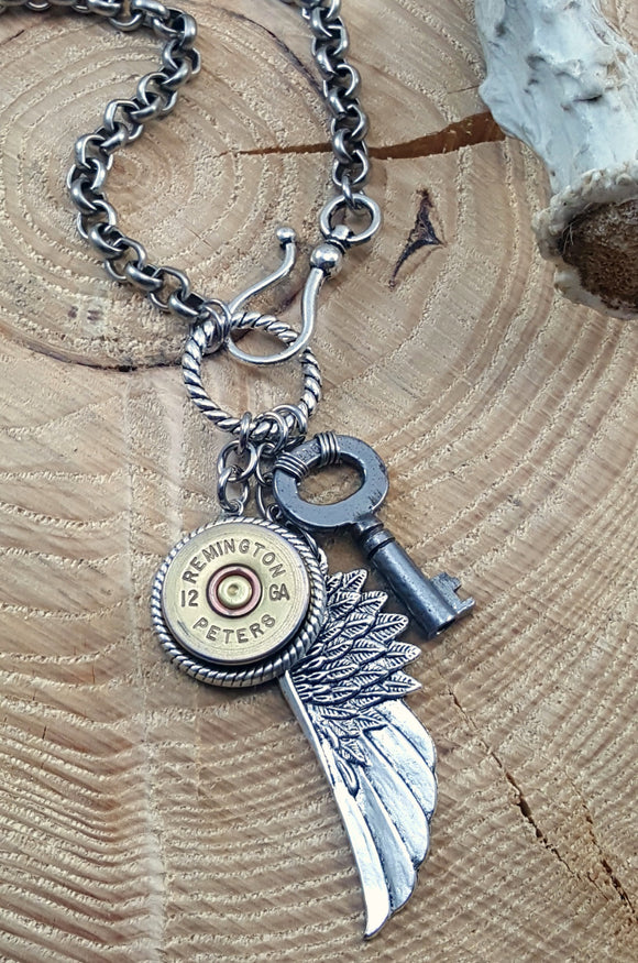 Shotshell, Skeleton Key & Wing Silver Charm Necklace-SureShot Jewelry