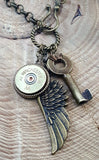 Shotshell, Skeleton Key & Wing Brass Charm Necklace-SureShot Jewelry
