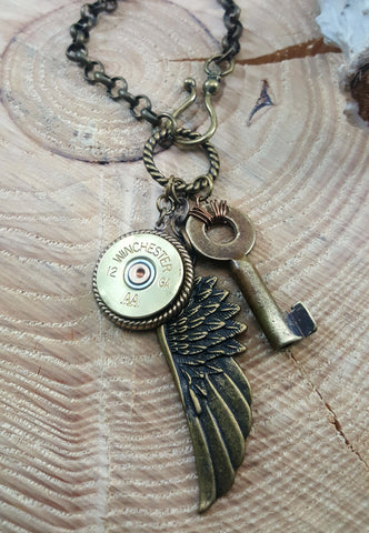 Shotshell, Skeleton Key & Wing Brass Charm Necklace